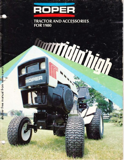 Roper Lawn Tractors And Garden : Roper tractor attachment manuals