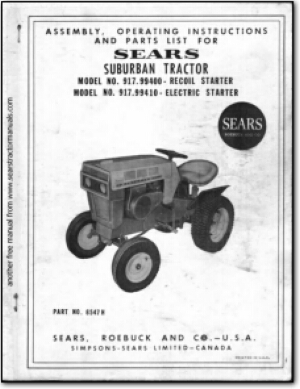 917.99400 sears tractor manuals Sears Suburban 12 Garden Tractor at reclaimingppi.co